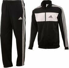 New Mens Adidas Full Tracksuit Jogging Bottoms Zip Jacket Track Top, Black White