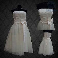 Champagne Strapless Bridesmaid Wedding Party Ball Gown Tulle Ribbon Bow Dress