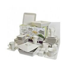 45 Piece Dinnerware Set Square Dishes Plates Bowls Cups Dinner Banquet Service