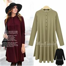XL-5XL Women casual Loose Hedging half collar Pleated Irregular Buttons OL dress