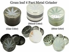 4 Parts Part Grass Leaf Metal Gold Silver Gun Mixed Colour Magnetic Weed Grinder