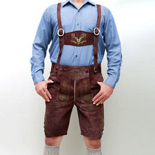 Bavarian LEDERHOSEN Plattlerhosen Real Goat Suede Leather Oktoberfest Rust Brown