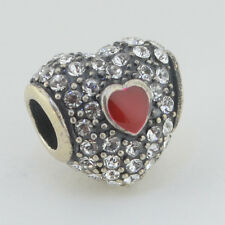 Sterling Silver European 925 Charm Double Heart Clear CZ & Red Enamel Bead 99106