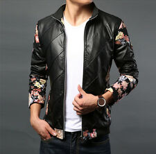 New Fashion winter mens Faux leather jacket Slim motorcycle printing Floral coat