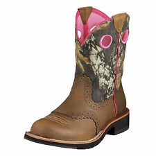 Ariat Womens Fatbaby Camoflauge Cowboy Western Pink Distressed Brown 10006854