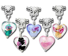 Wholesale Lots Mixed Glass Heart Dangle Beads Fit European Charm Bracelets