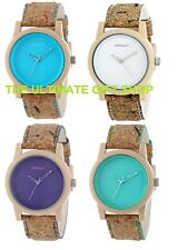 NEW-SPROUT WHITE,BLUE,PURPLE,TEAL CORN RESIN DIAL,CORK BAND ECO WATCH-ST/5516