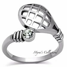 Women's CZ Tennis Racket Ball Silver Stainless Steel Fashion Ring Size 5-10