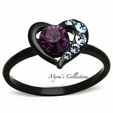 Women's Round Cut Amethyst CZ Black Stainless Steel Heart Fashion Ring Size 5-10