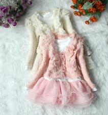 New Baby Girls Toddler Clothing Set Long Sleeve Cardigan Outwear + Dress
