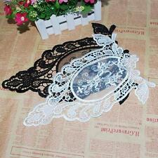 Off White/Black Flower Venise Motif Collar Lace Trim Applique DIY Sewing Craft