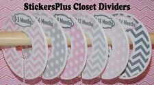 Baby Closet Dividers Hangers Girl Pink Grey Gray Chevron Dots Clothes Organizers