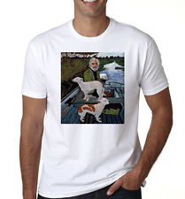 New GOODFELLAS *Painting Old Man with Two Dogs Men's White T-Shirt Size S-3XL