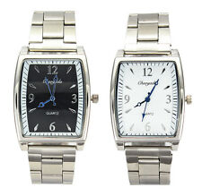 Casual Mens Square Casual Stainless Steel Band Gents Quartz Wrist Watch