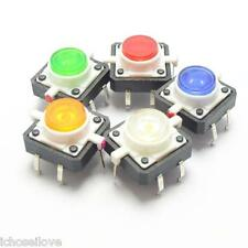 Tactile Push Button Switch Momentary Tact With LED 12*12 4pin 5-color Selectable