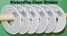 6 Assembled Baby Closet Dividers Grey Elephants Shower Gift Clothes Organizer