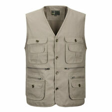 Mens Multi Pocket Vest Fishing Hunting Travel Safari Outdoor Vest Waistcoat