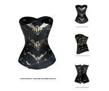 Full Steel Boned Heavy Lacing Brocade Overbust Corset #HC8530B(BRO)