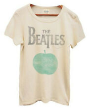 Classic Rock Band Music The Beatles Apple Logo Almond Cream Juniors T-Shirt Tee