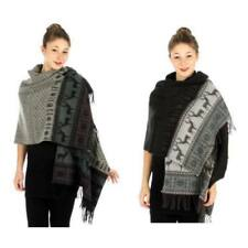 Super size snowflake/reindeer cashmere feel shawl, Black, Gray, 100% Acrylic