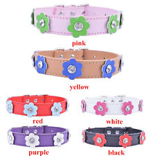 Pu Leather Dog Collar Flowers Studded Collar For Small Dogs Rhinestone Charms