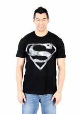 Adult Men's DC Comics Hero Superman Smoke Shield Logo Emblem Black T-shirt Tee