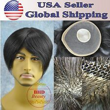 "Mens Toupee HairPiece 100% Indian Human Hair Remy Replacement 6"" Straight Hair"