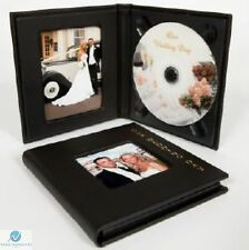 Small Single CD DVD Wedding Photo Album Case with Gold Lettering Black