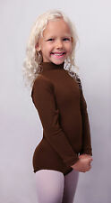 Child Long Sleeve Leotard Mock Turtle Neck Zip Back Brown New Sizes 2-4 to 14-16