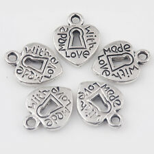 15/30Pcs Tibetan Silver Heart Shape Made With Love Carved Charm Pendants 12*10mm