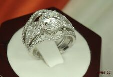 WOMENS HALO ENGAGEMENT AND WEDDING RING SET CZ STERLING SILVER 925 SIZE 5-SIZE 9