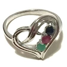 Genuine Emerald, Ruby & Blue Sapphire in Real 925 Silver Heart Shape Love Ring
