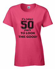womens 50th birthday party t-shirt celebration age present gift clothes ladies