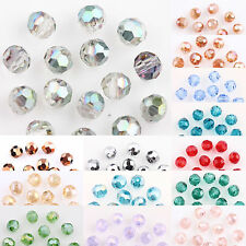 100 AB Plated Czech Crystal Glass Round Loose Spacer Bead Finding Craft 4mm DIY