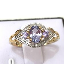 Genuine Tanzanite + Genuine Diamond 14K Yellow Gold Plated 925 Silver Ring Sz 8