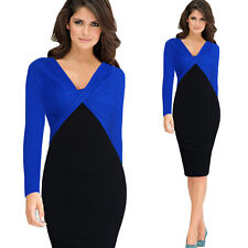 Womens Elegant Colorblock Twist Ruched V Neck Party Cocktail Sheath Dress 1146