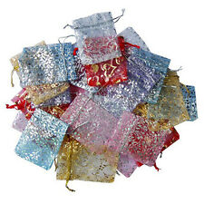 New 50Pcs Vogue Organza Jewelry Wedding Favor Rose Gift Pouch Bags 7X9cm Color