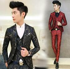 Fashion Men Slim Fit Jacket Casual 2 Button Wedding casual Blazer Red Blue