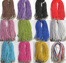 10Pcs Leather Braid Rope Hemp Cord Lobster Clasp Chain Necklace Jewelry 46cm