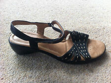 Womens Ladies Sandals Size 9 Black Brown Leather Mid Heel Padders Jakarta