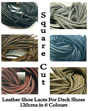 Square Cut Leather Shoe Laces 3mm to 4mm For Deck Shoe/Boot Size 120cm