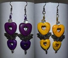 Heart Shaped Beaded & Butterfly earrings