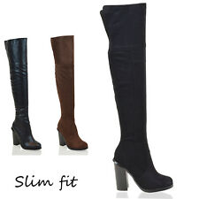 LADIES OVER THE KNEE BLOCK HEEL WOMENS SLIM FIT CUT OUT THIGH HIGH BOOTS SIZE