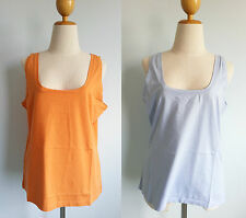 *Patagonia Women Simply 100% Organic Cotton Tank Top Stretchy Orange Blue L XL