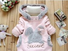 New !Baby Rabbit Outerwear Girls Cute Clothes Hoodies Jacket Winter Coat 2-6Y