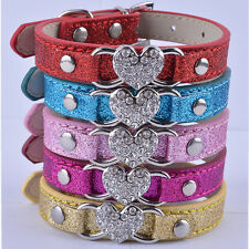 Lot 5 Dog Collars Leather Rhinestone Heart Collar Charm Small Collar For Dogs