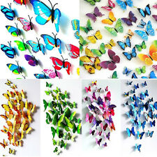 Fashion 12pcs 3D PVC DIY Butterfly Art Decal Home Room Decor Wall Mural Stickers