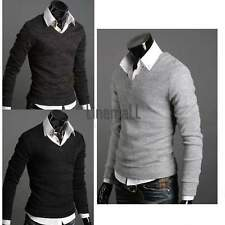 Men Casual Long Sleeve Tops Pullover Sweater Solid Cardigan Jumper V-neck Gray