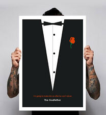The Godfather Brando Al Pacino Mafia Art Minimal Film Poster Print Decor Movie