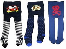 BOYS TIGHTS SKULL & CROSSBONE CARS ROBOTS 0-4 YRS TODDLER BABY FOOTED COTTON NEW